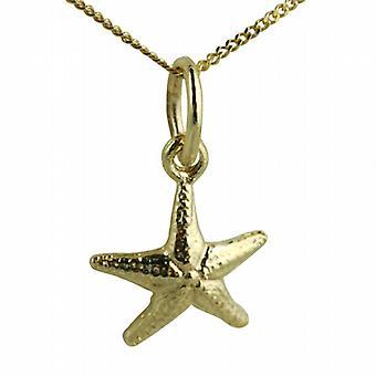 9ct gull 10x10mm Starfish anheng med en fortauskant kjede 20 inches