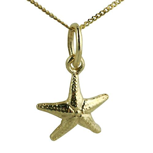 9ct Gold 10x10mm Starfish Pendant with a curb Chain 16 inches Only Suitable for Children