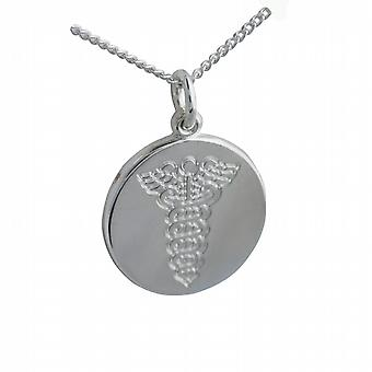 Silver 19mm round medical alarm Disc with a curb Chain 24 inches