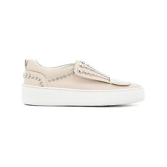 Sergio Rossi women's A79290MFN2059179 beige leather slip on sneakers
