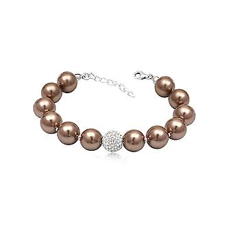 Beads Brown bracelet gold white Crystal and Silver 925