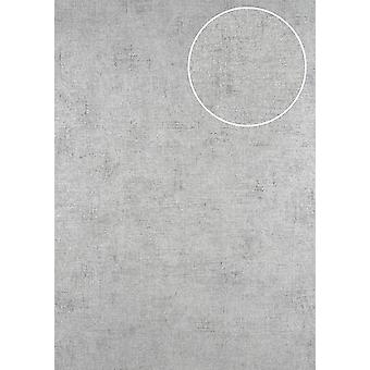 Uni wallpaper ATLAS CLA-598-7 non-woven wallpaper smooth, shimmering in the used look silver white perl perl-bright eyed 5.33 m2