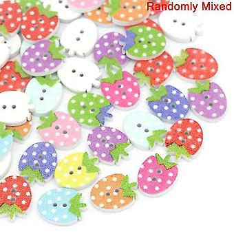 10x Mixed/White Wood 12x16mm Strawberry 2-Holed Patterned Sew On Buttons Y08270