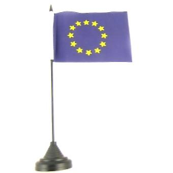 Euro Blue Star Table Flag with Stick and Base