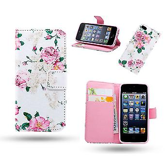 iPhone 5/5s/SEE leather case wallet-Flowers