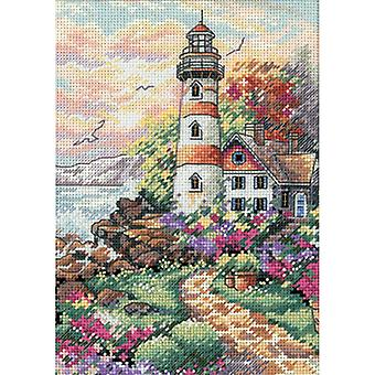 Gold Petite Beacon At Daybreak Counted Cross Stitch Kit-5