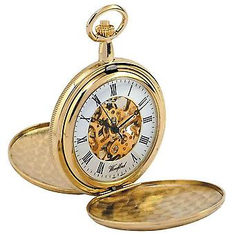 Woodford Gold Plated Double Hunter Skeleton Mechanical Pocket Watch - Gold
