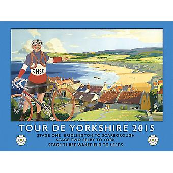 Tour De Yorkshire Beach Large Steel Wall Sign 400Mm X 300Mm