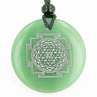 Sri Yantra Chakra Talisman Green Aventurine Magic Gemstone Circle Good Luck Powers Pendant Necklace
