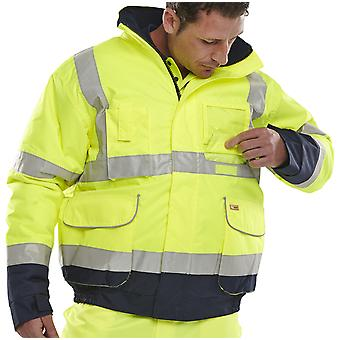 B-Seen Hi Vis Wateproof & Quilt Lined Two Tone Bomber Jacket. En471 - Bd208