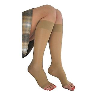 Pebble UK Signature Sheer Open Toe Compression Knee Highs [Style P230] Silky Nude  S