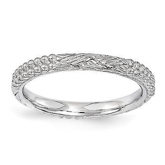 2.5mm Sterling Zilver gepolijst stapelbare expressies Rhodium-plated patroon Ring - Ringmaat: 5 tot en met 10