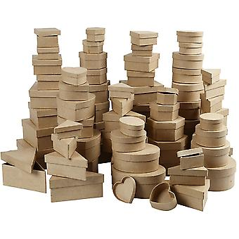 SALE - BULK BUY 168 Assorted Paper Mache Boxes for Crafts - Largest 15cm