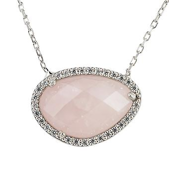 Latelita Rose Quartz Gemstone Pendant Necklace Gold Sterling Silver CZ Fashion