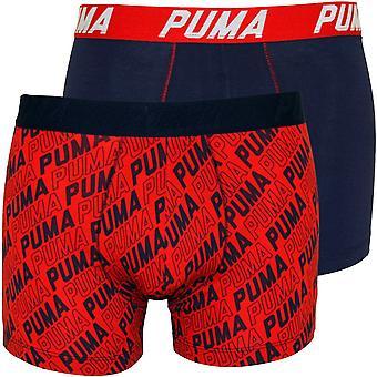 Puma 2-Pack Infinity Logo Print Boxer Briefs, Red/Black