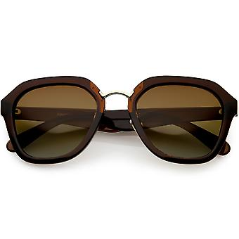 Women's Oversize Geometric Sunglasses Wide Arms Polarized Lens 53mm