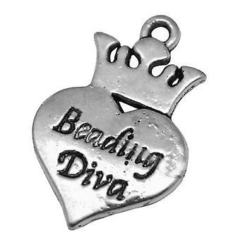 Pakke 10 x Antikk sølv tibetanske 24mm Beading Diva sjarm/anheng HA08060