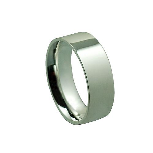 Silver 8mm plain Flat Court shaped Wedding Ring