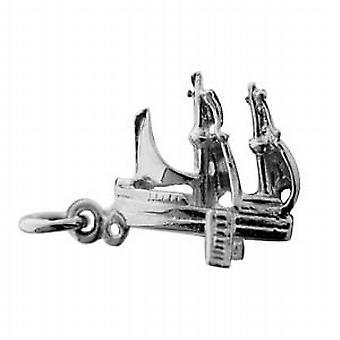 Silber 14x19mm solide Piraten Schoner Anhänger oder Charm