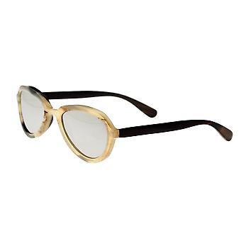 Bertha Alexa Buffalo-Horn Polarized Sunglasses - Honey-Black/Silver