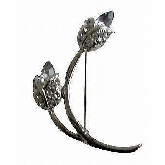 Bridal or Bridesmaid AB Crystals 2 Tulip Bud Brooch Pin