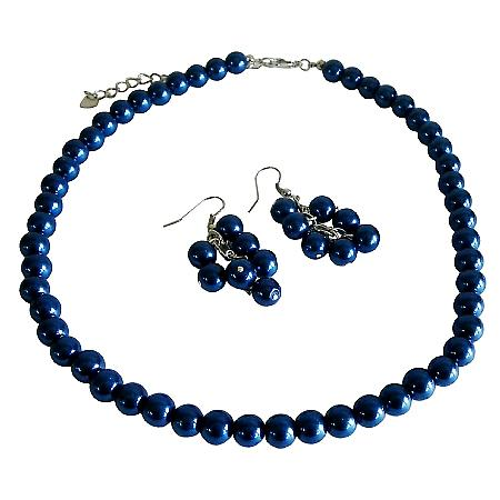 Synthetic Sapphire Dark Blue Pearls Jewelry Set