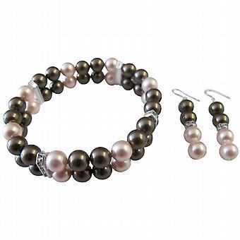 Brown Swarovski Pearls Wedding Bridal Bridesmaid Bracelet & Earrings