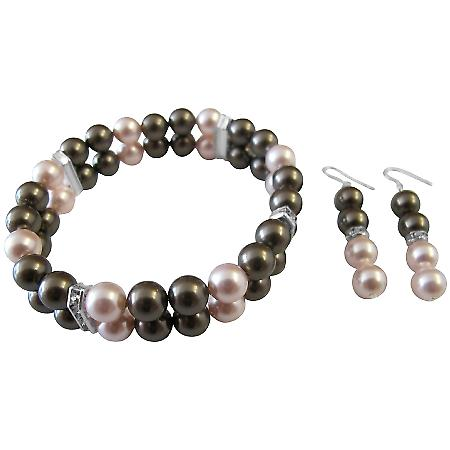 Brown Swarovski Pearls Wedding Bridal Bridesmaid Bracelet & Earrings