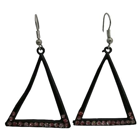 Earrings Dangling Chandelier Black Triangle Earrings w/ Red Cz