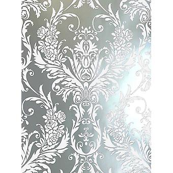 Debona Damask Medina Flock Effect Silver White Luxury Feature Wall Wallpaper