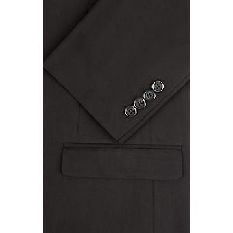 Dobell Mens schwarzen Anzugjacke zugeschnitten Fit Kerbe Revers
