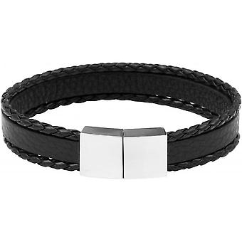 Clio Blue BR2167S - steel man black leather strap bracelet