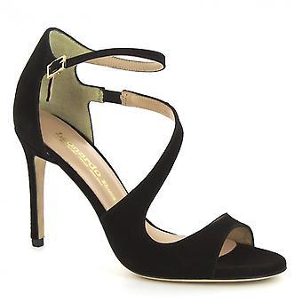 Sandales à talons en daim noir de Leonardo Chaussures femmes à la main cheville sangle
