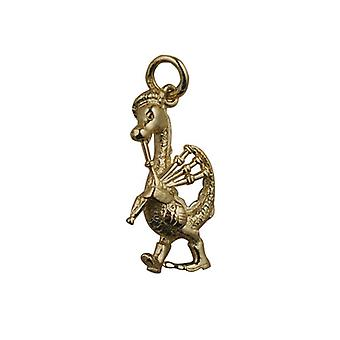 9ct Gold 27x15mm Nessie with Bagpipes Pendant with a curb Chain 16 inches Only Suitable for Children