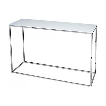 Gillmore Space White Glass And Silver Metal Contemporary Console Table