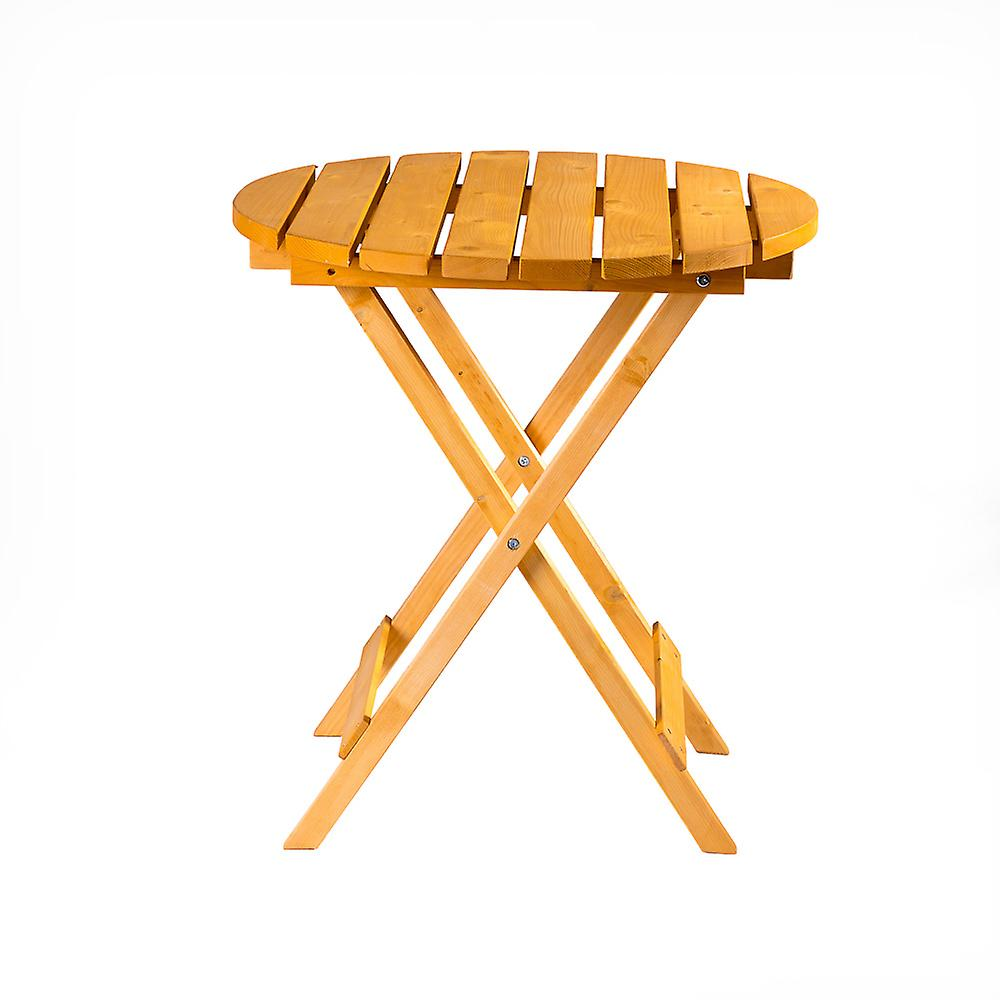 Wooden Round Folding Garden Patio Side Table - Coffee Snack Picnic Dining Drinks