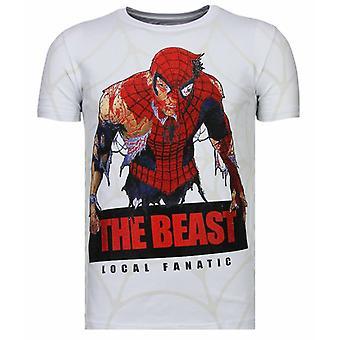 The Beast Spider-Rhinestone T-shirt-White