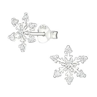 Snowflake - 925 Sterling Silver Cubic Zirconia Ear Studs - W19095X