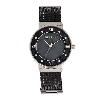 Bertha Dawn Mother-of-Pearl Cable Bracelet Watch - Black
