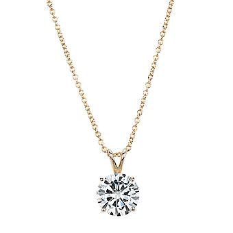 14K Yellow Gold Forever Brilliant 11.5mm Round Moissanite Necklace, 5.37ct DEW