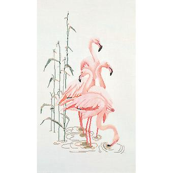 Flamingoes On Aida Counted Cross Stitch Kit 15