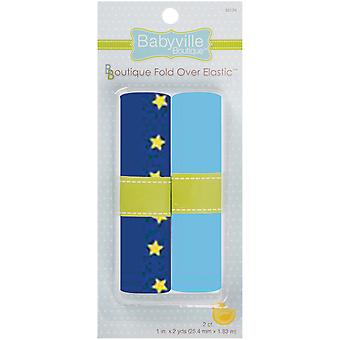 Babyville Boutique Fold Over Elastic Dark Blue with Yellow Stars & Light Blue 350E 124