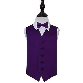 Boy's Purple Plain Satin Wedding Waistcoat & Bow Tie Set