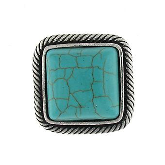 Silver and Turquoise Square Stone Stretchable Ring