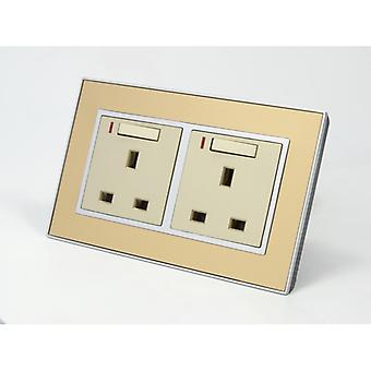 I LumoS AS Luxury Gold Mirror Glass Double Switched with Neon Wall Plug 13A UK Sockets