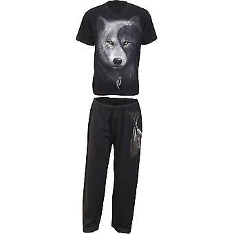 Spiral Direct Gothic WOLF CHI - 4pc Mens Gothic Pyjama Set|Wolf|Yin Yang|Native American|Mystical