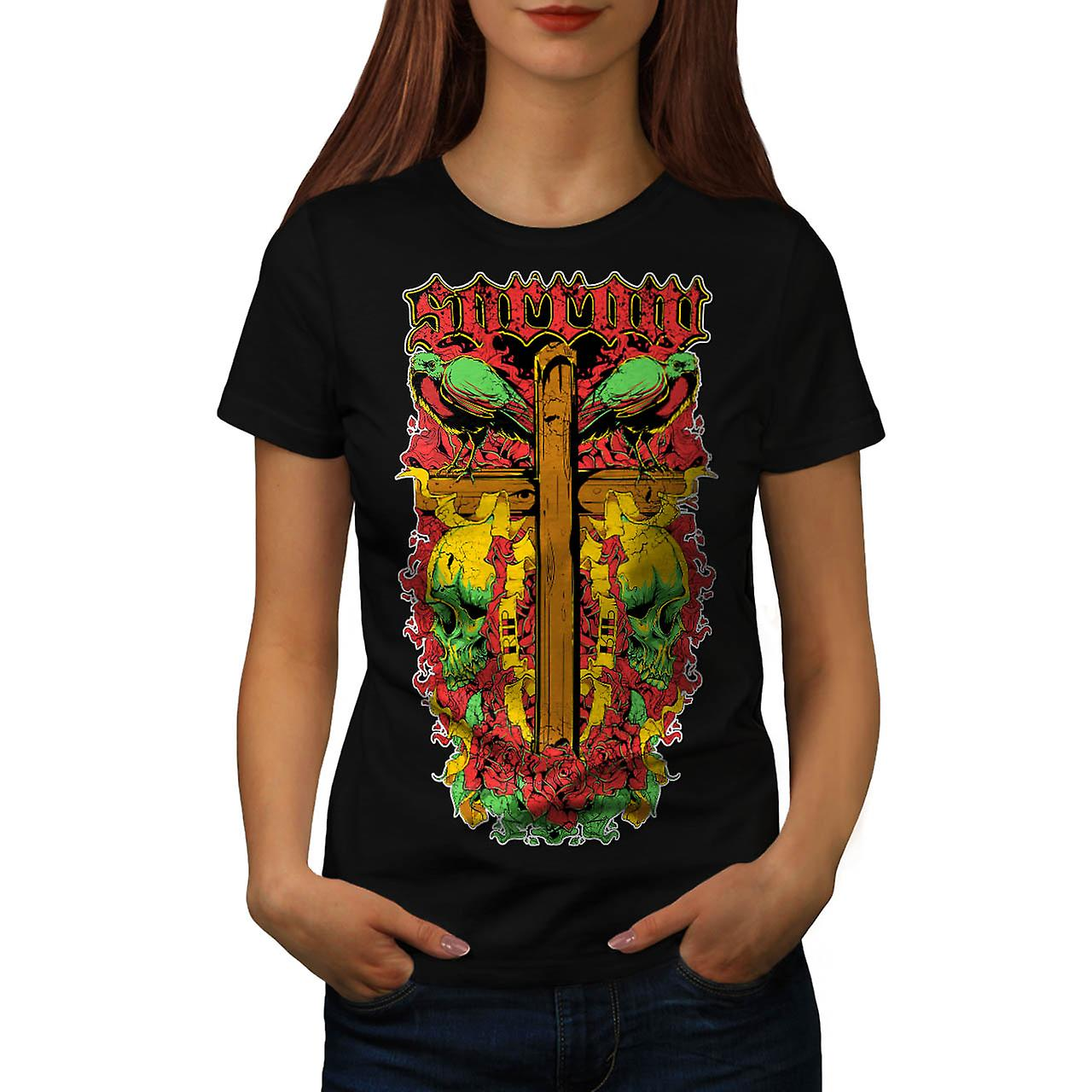Die Sorrow Grave Yard Tomb Stone Women Black T-shirt | Wellcoda