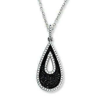 Sterling Silver and Cubic Zirconia Brilliant Embers Teardrop Necklace - 18 Inch