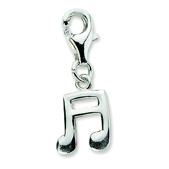Sterling Silver Polished Beamed Sixteenth Note With Lobster Clasp Charm - Measures 22x8mm