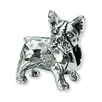 Sterling Silver Polished Antique finish Reflections Boston Terrier Bead Charm